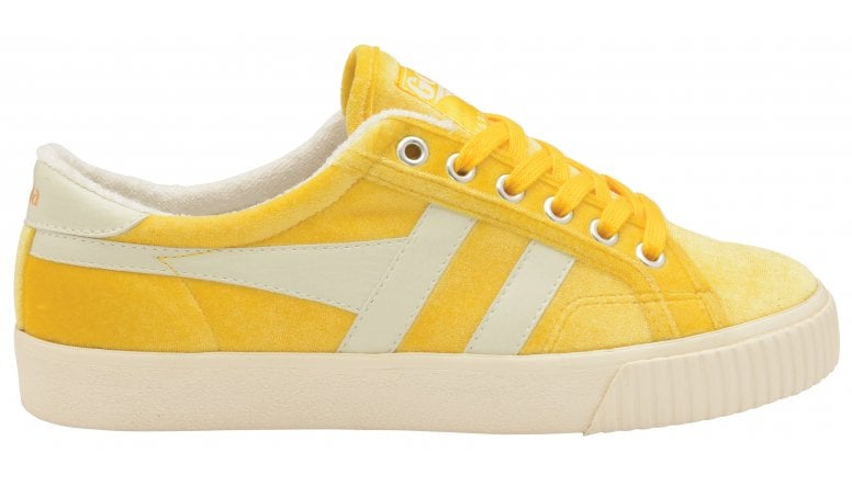 tennis mark cox yellow velvet trainers
