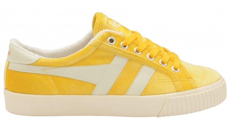 tennis mark cox yellow velvet trainers