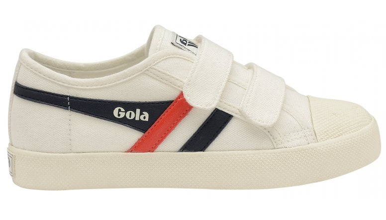 4404834e4d22 Buy Gola kids Coaster velcro trainers in off white navy red online