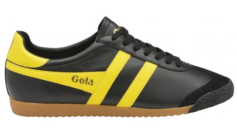 97ca9de8640 Buy Gola mens Harrier 50 Leather trainer in black/yellow online.