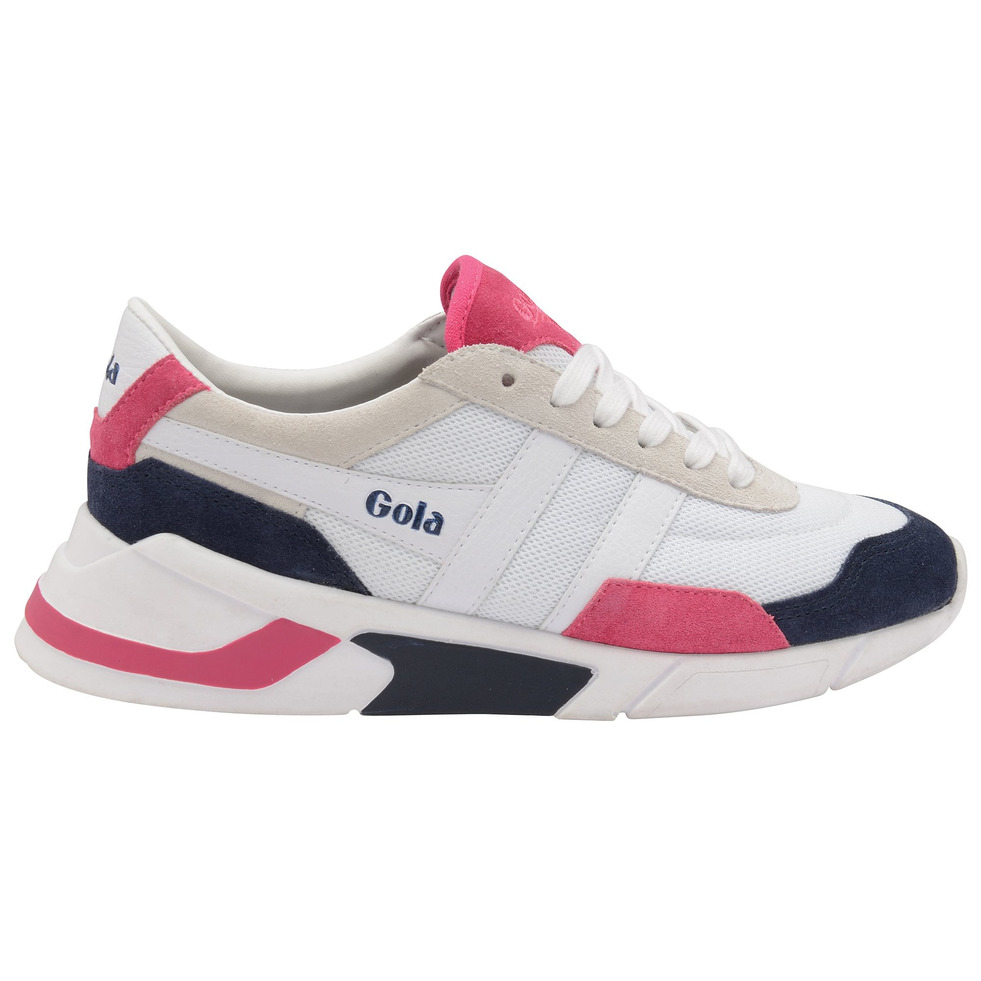 Buy Gola womens Eclipse trainers in white/navy/fuchsia online at gola